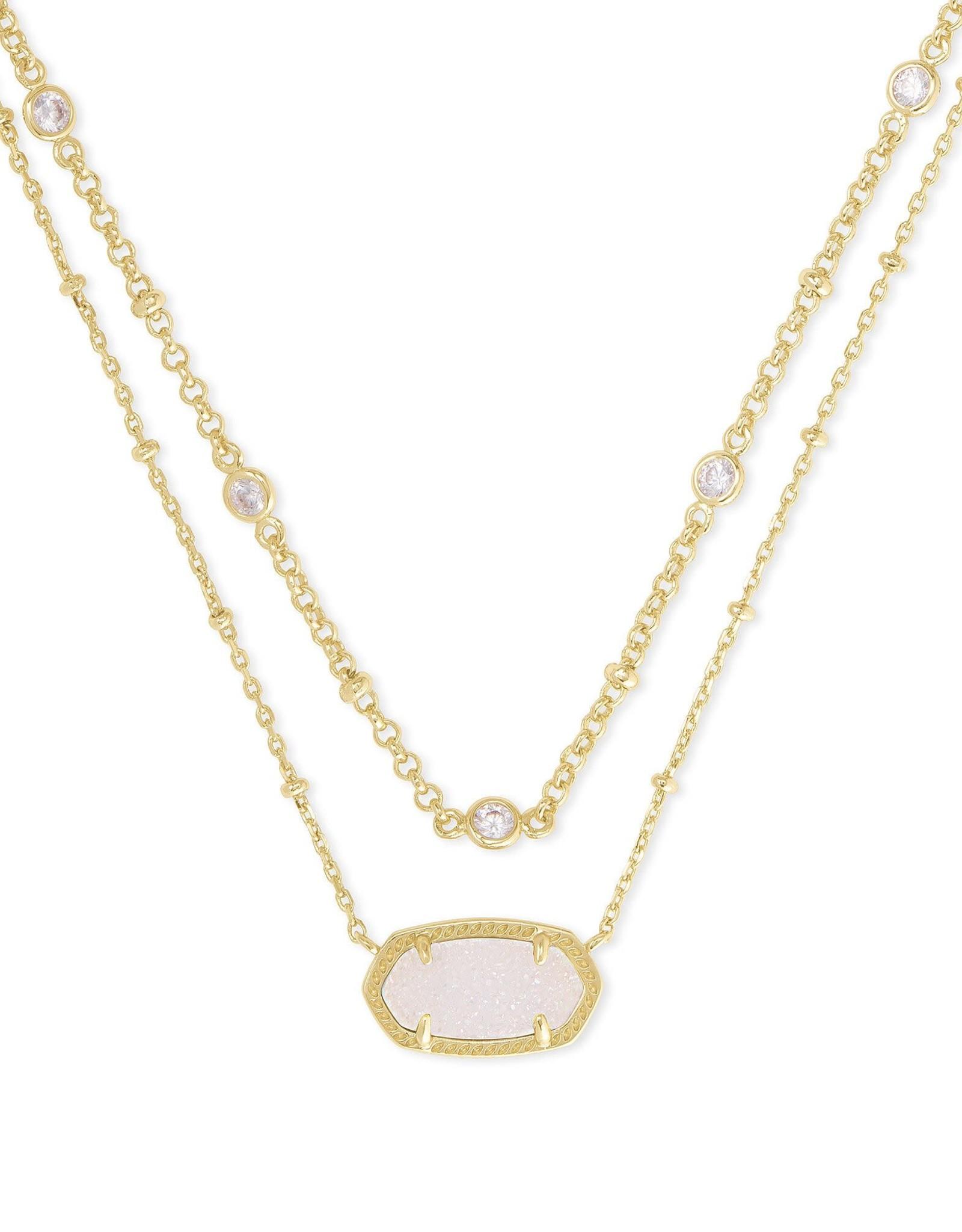 Kendra Scott Elisa Multi Strand Necklace - Irridescent Drusy/Gold