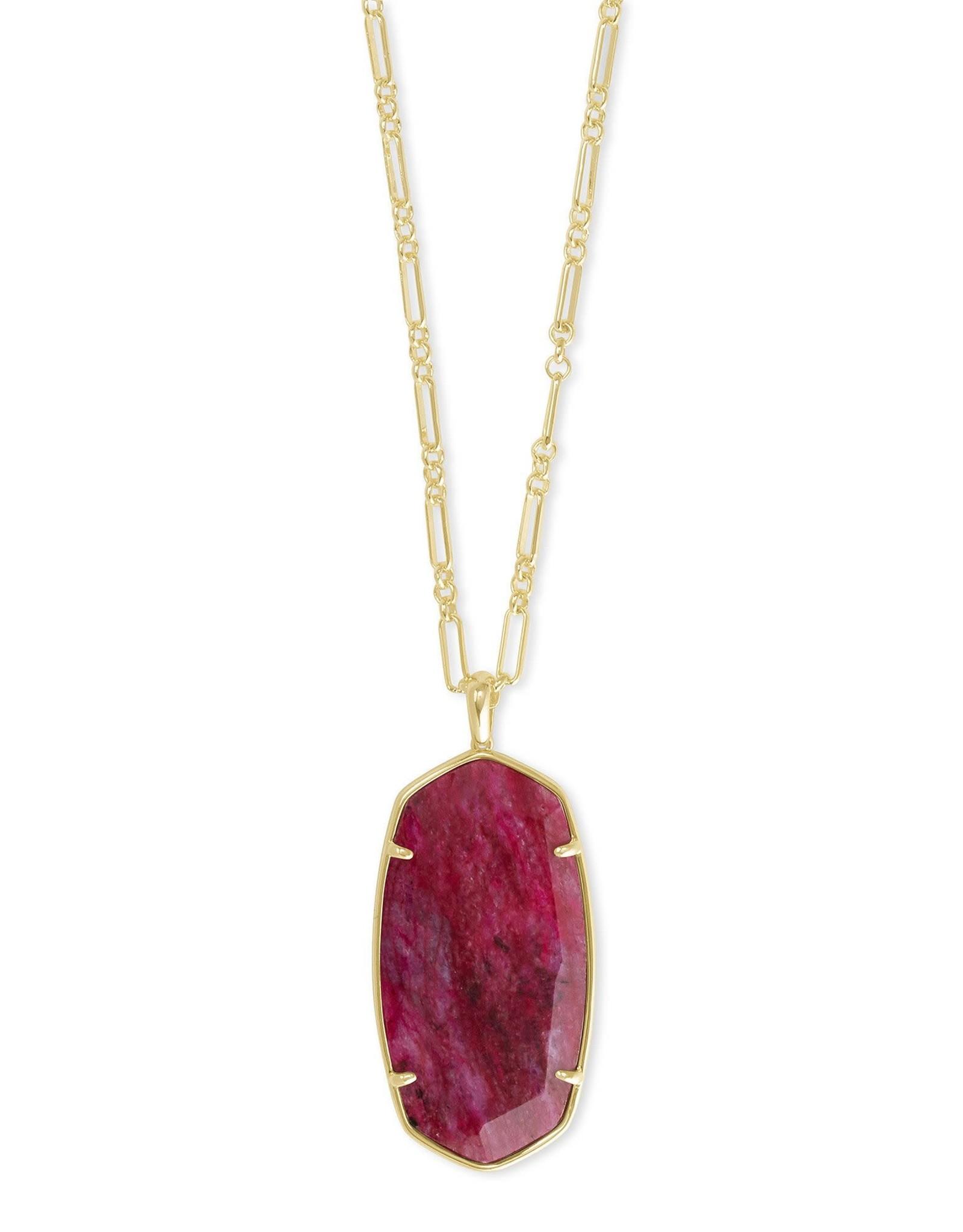 Kendra Scott Faceted Reid Necklace - Raspberry Labradorite/Gold