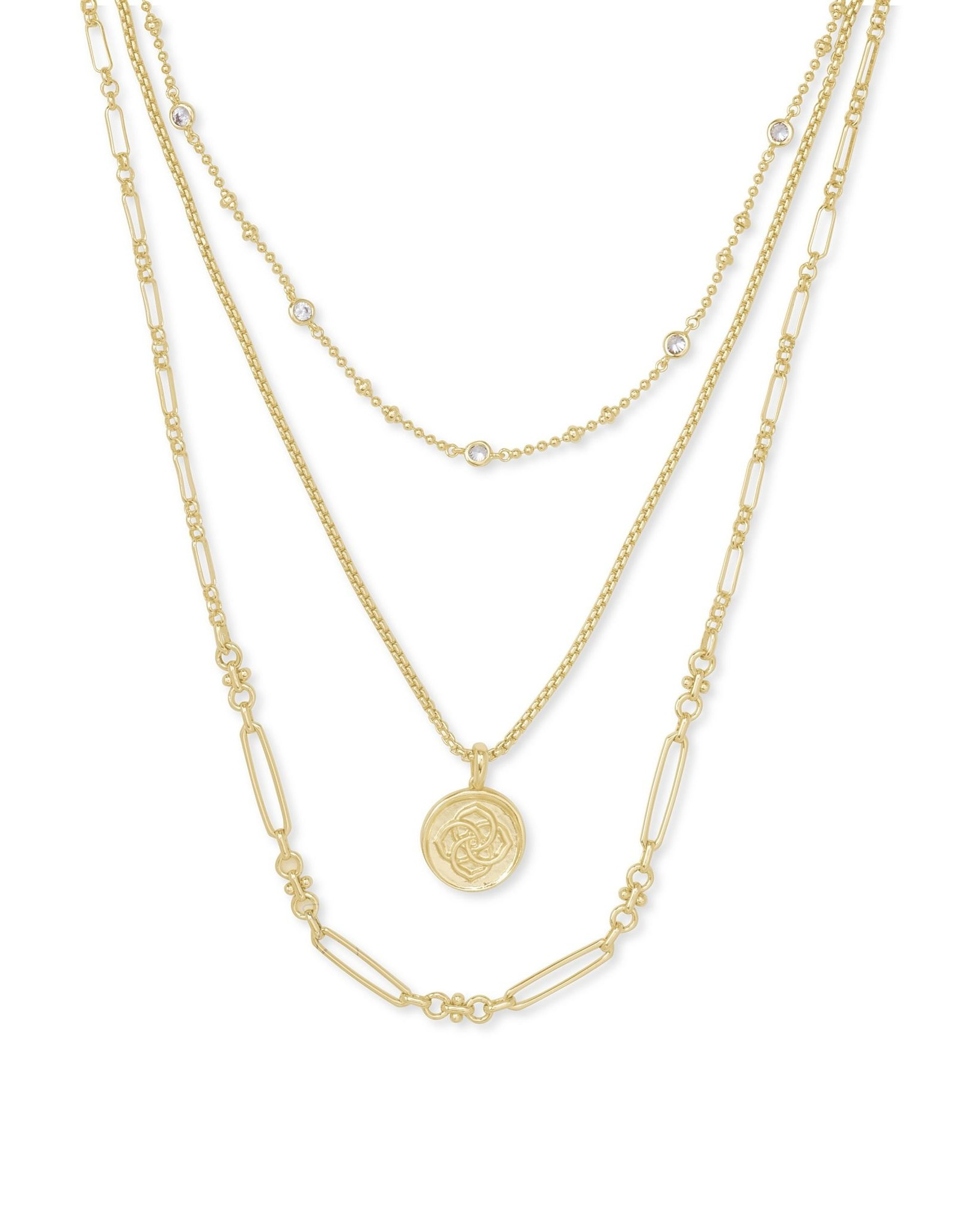 Kendra Scott Medallion Triple Strand Necklace - Gold Metal