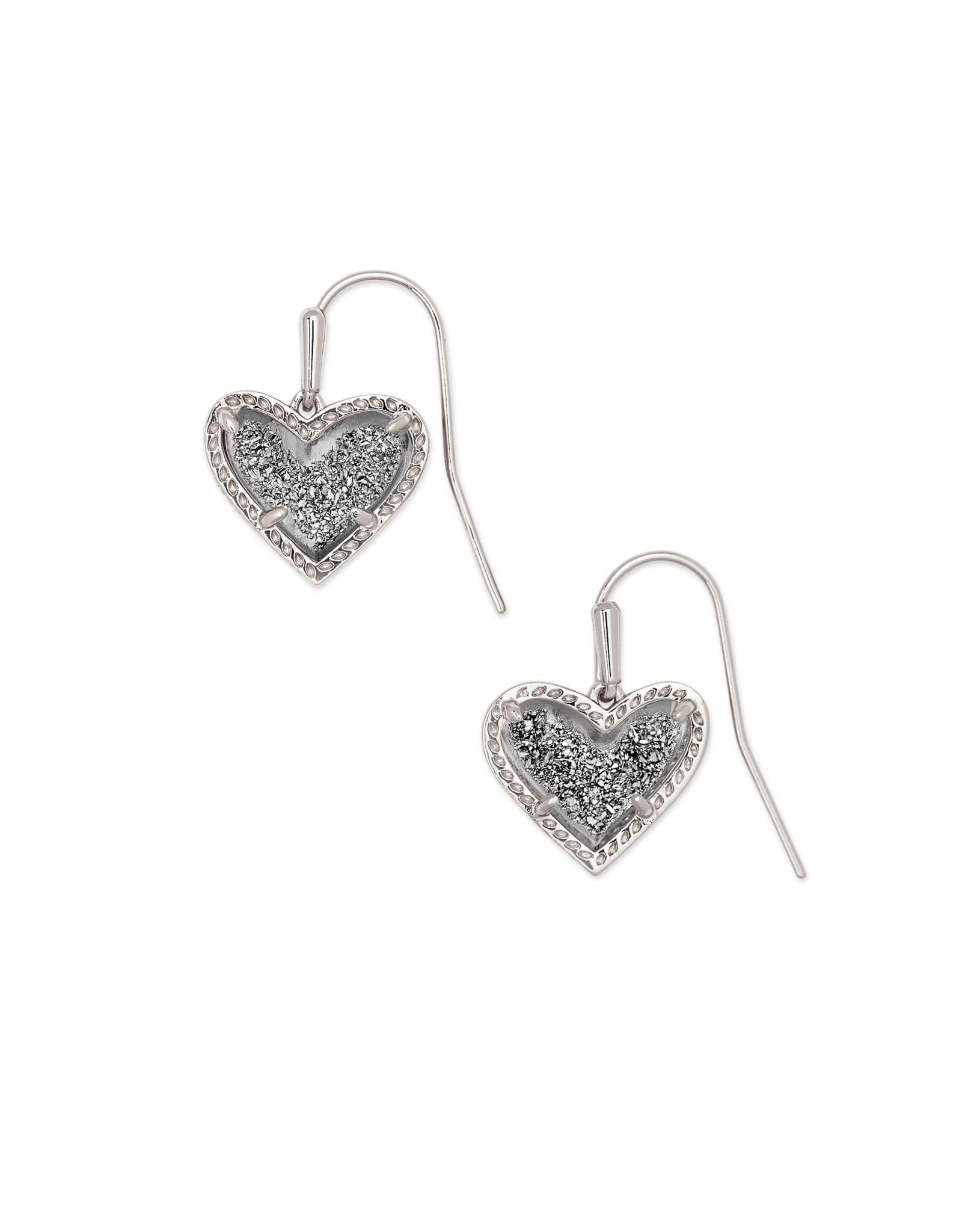 Kendra Scott Ari Heart Drop Earring - Platinum Drusy/Rhodium