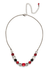 Sorrelli NDQ14ASGDAR - Game Day Red Tansy Half Line Tennis Necklace