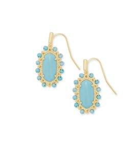 Kendra Scott Beaded Lee Drop Earring - Light Blue Magnesite/Gold