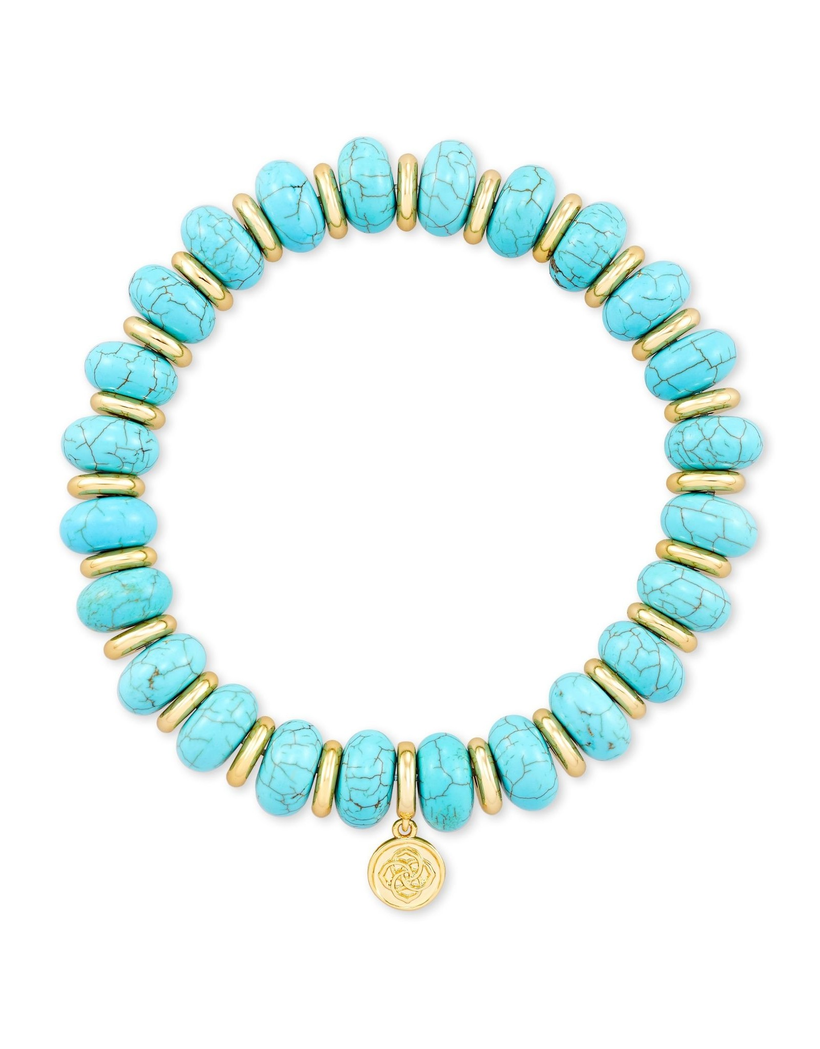 Kendra Scott Rebecca Stretch Bracelet - Variegated Turquoise Magnesite/Gold