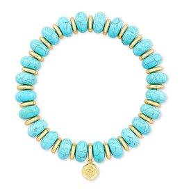 Kendra Scott Rebecca Stretch Bracelet - Variegated Turquoise Magnesite/Gold
