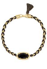 Kendra Scott Elaina Braided Friendship Bracelet - Black Obsidian/Gold