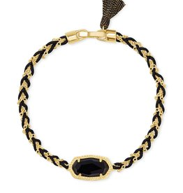 Kendra Scott Elaina Braided Friendship Bracelet - Black Obsidian/Gold