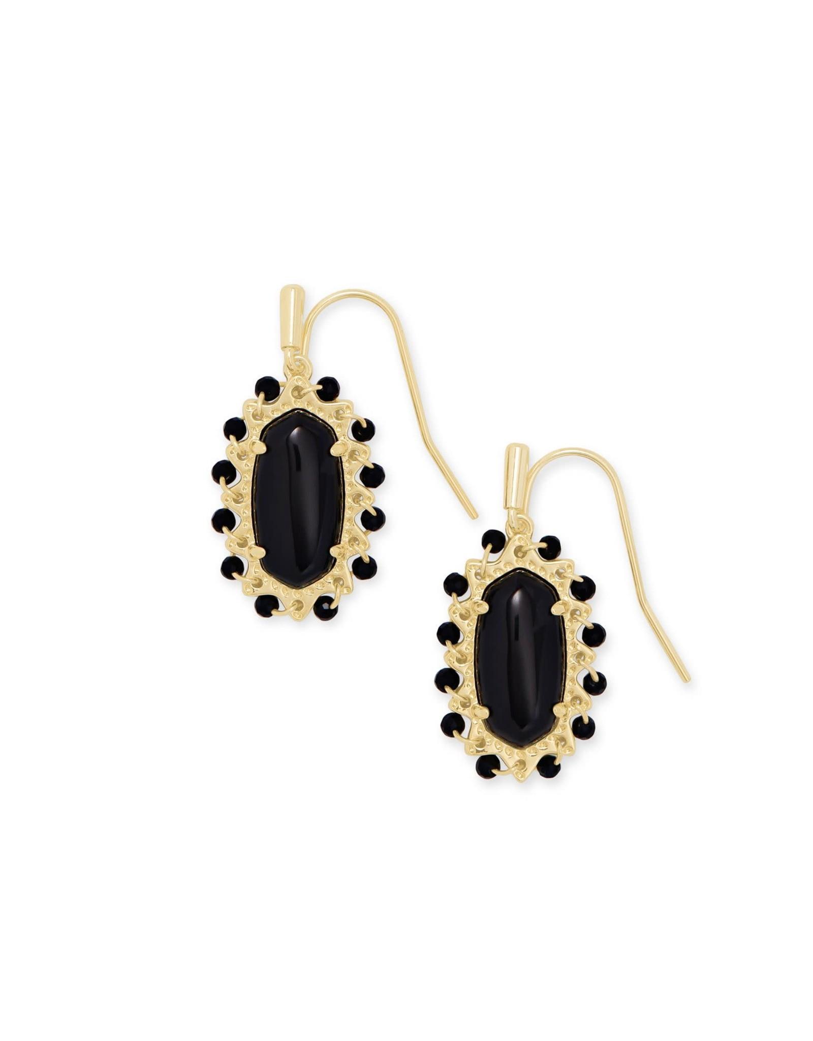 Kendra Scott Beaded Lee Drop Earring - Black Obsidian/Gold