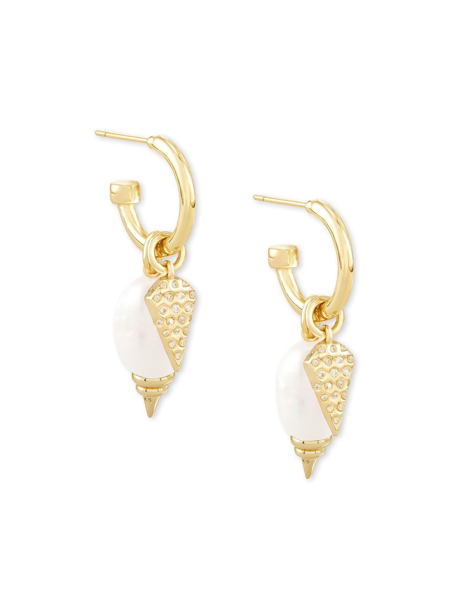 Kendra Scott Demi Huggie Earring Set - White Baroque Pearl/Gold