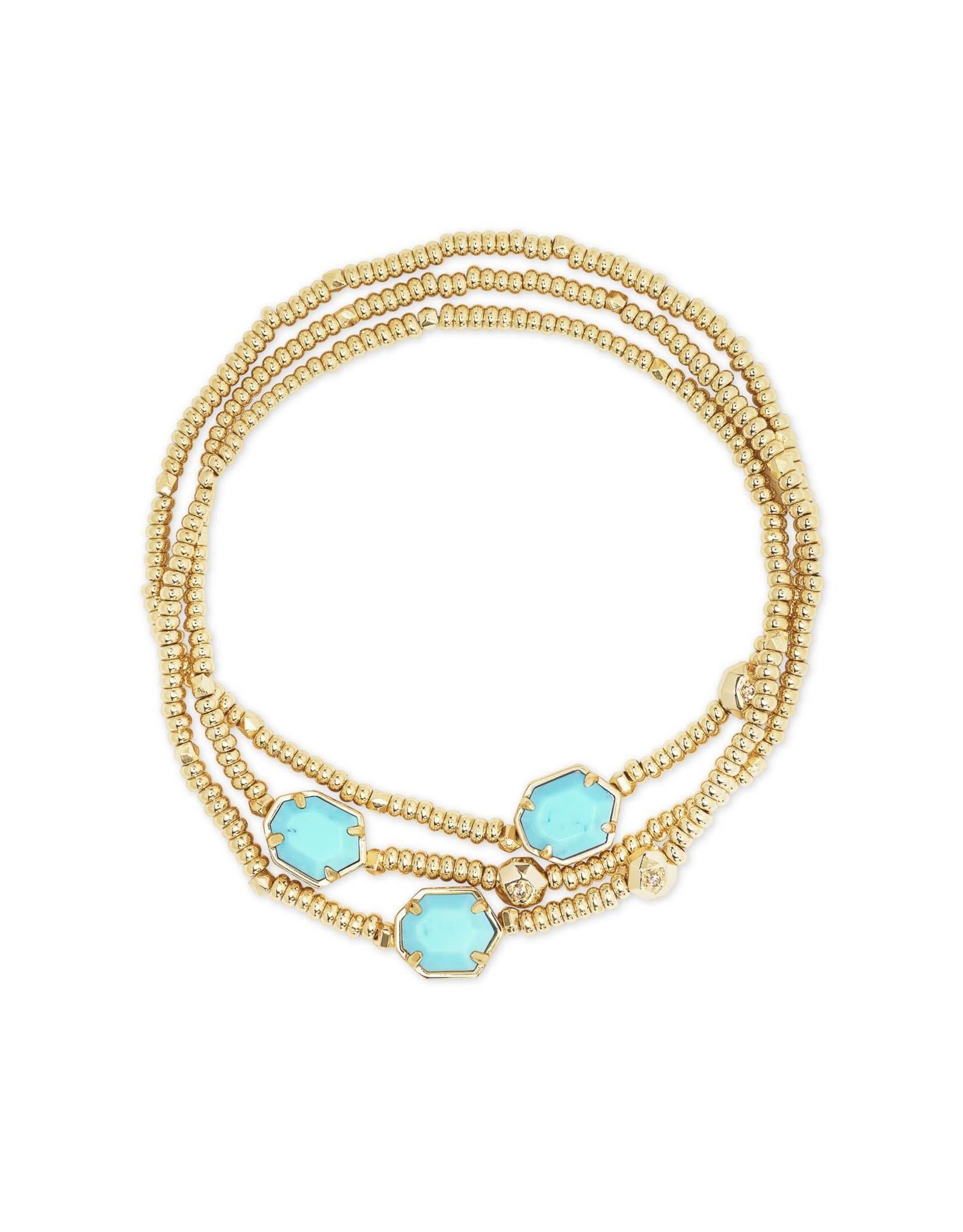 Kendra Scott Tomon Stretch Bracelet - Light Blue Magnesite/Gold