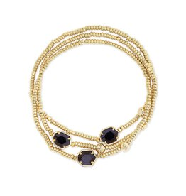Kendra Scott Tomon Stretch Bracelet - Black Obsidian/Gold