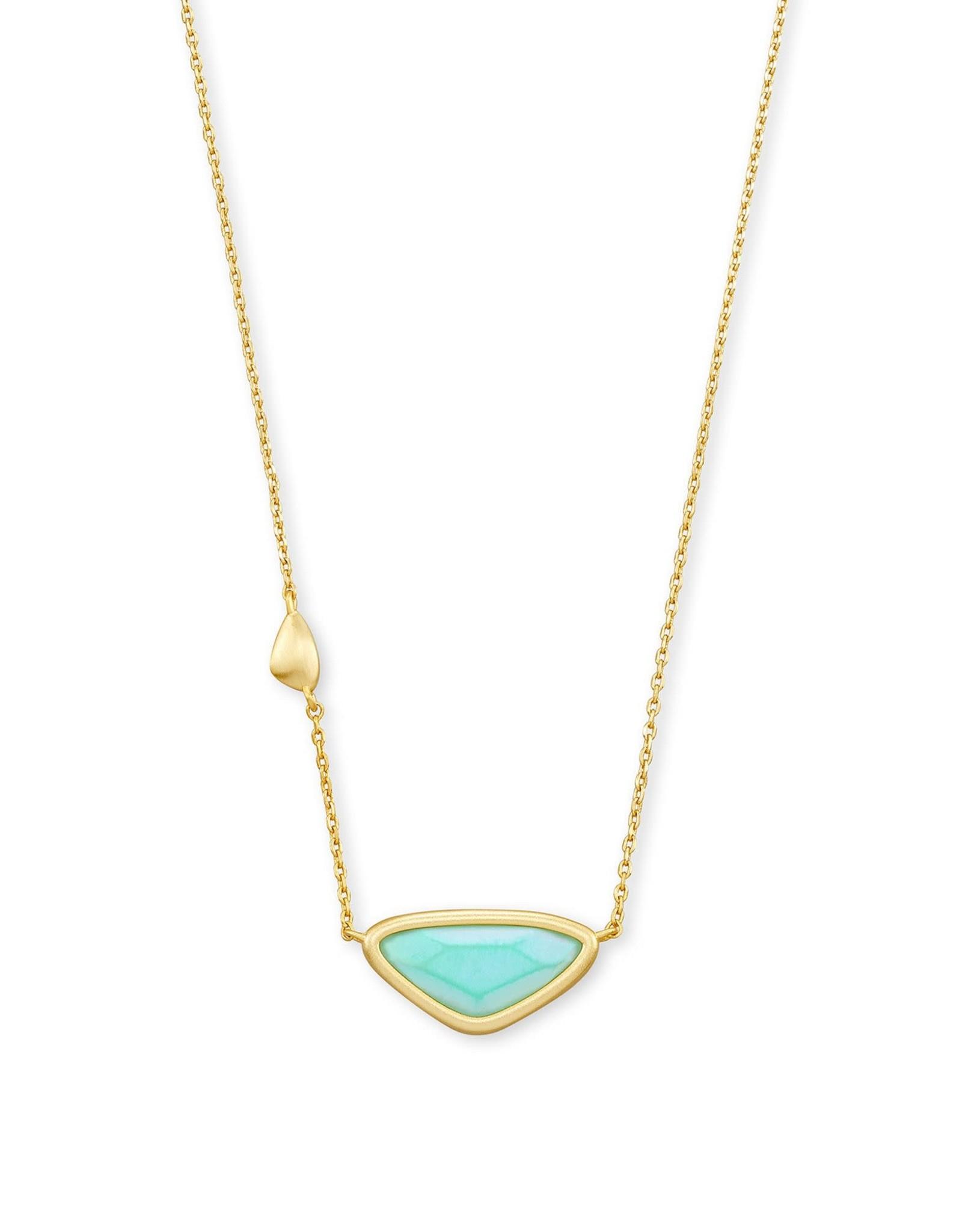 Kendra Scott Margot Pendant Necklace - Matte Iridescent Mint/Gold