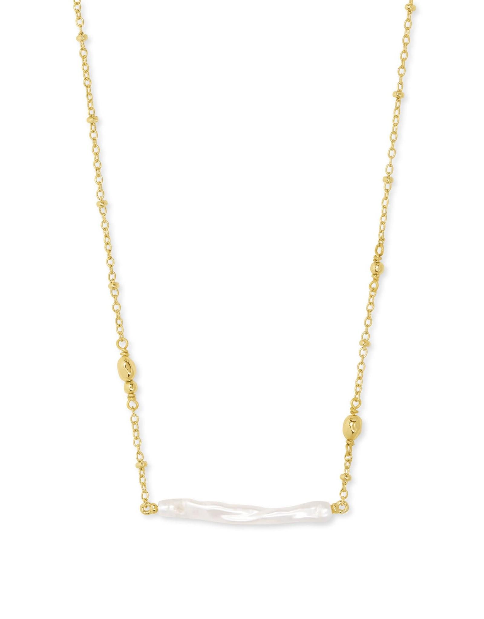 Kendra Scott Eileen Pendant Necklace - White Pearl/Gold