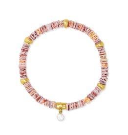 Kendra Scott Lila Stretch Bracelet - Pastel Shells/Vintage Gold