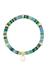Kendra Scott Lila Stretch Bracelet - Matte Sea Green Mix/Gold