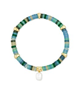 Kendra Scott Lila Stretch Bracelet - Matte Sea Green Mix/Gold