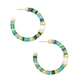 Kendra Scott Lila Hoop Earring - Matte Sea Green Mix/Gold