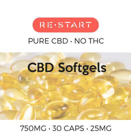 RESTART CBD Capsules • NO THC 25mg CBD • 30 count (750mg