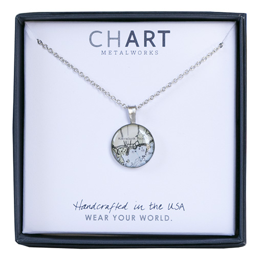 Chart Metalworks Chart Metalworks Necklace - Kennebunk Beach - Piccolo - Pewter