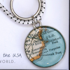 Chart Metalworks Key Ring - Vintage Maine Map - Pewter