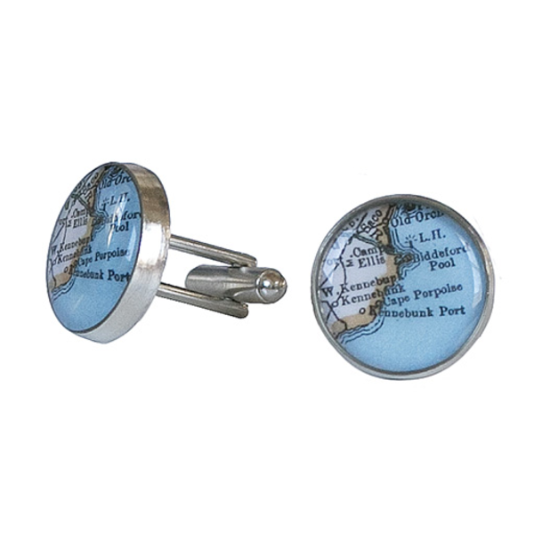 Chart Metalworks Chart Metalworks Peltro Navigator Cuff Links - Vintage Maine Map - Pewter