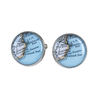 Chart Metalworks Peltro Navigator Cuff Links - Vintage Maine Map - Pewter