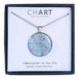Chart Metalworks Chart Metalworks Necklace - Vintage World Map - Medio - Pewter