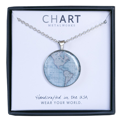Chart Metalworks Necklace - Vintage World Map - Medio - Pewter