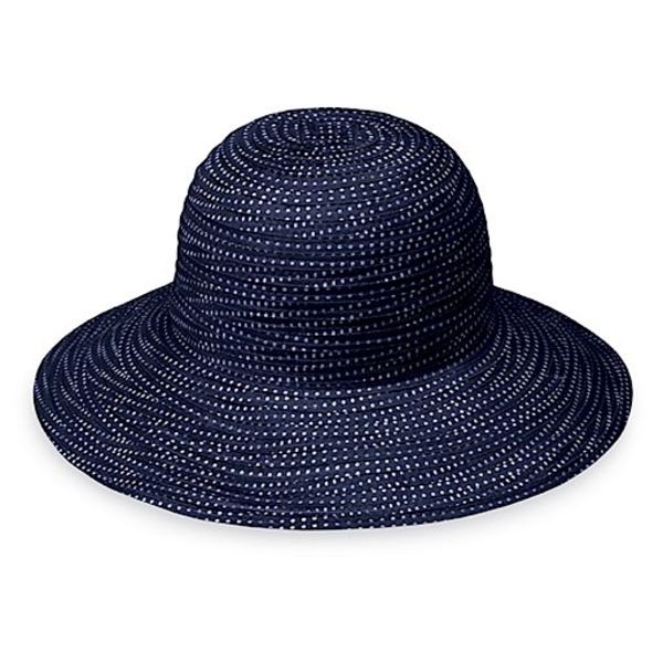 Wallaroo Hat Company Petite Scrunchie Hat - Navy with White Dots