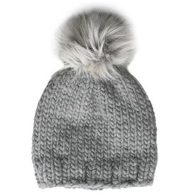 Betty Louise Studio Betty Louise Studio Chunky Solid Hat - Grey - White with Grey Faux Fur Pom Pom