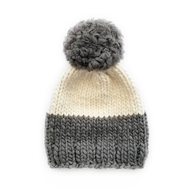 Betty Louise Studio Betty Louise Studio Chunky Color Block Hat - Dark Grey Bottom, Ivory Top - Grey Yarn Pom Pom