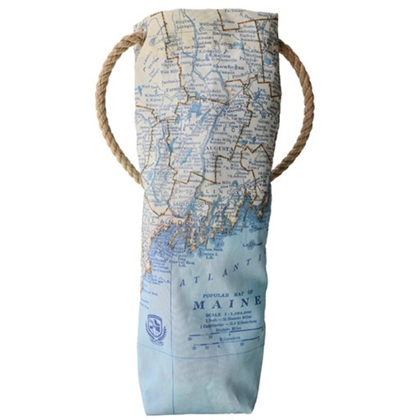 Sea Bags Sea Bags Custom Daytrip Society Maine Map Wine Carrier - Hemp Handle