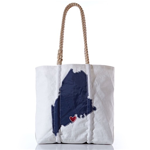 Sea Bags Custom Maine Heart Tote - Hemp Handles - Medium