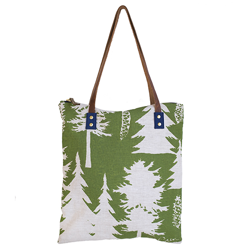 Erin Flett Linen Mod Tote - Ashley Pine Olive - Navy Zip and Strap Connector