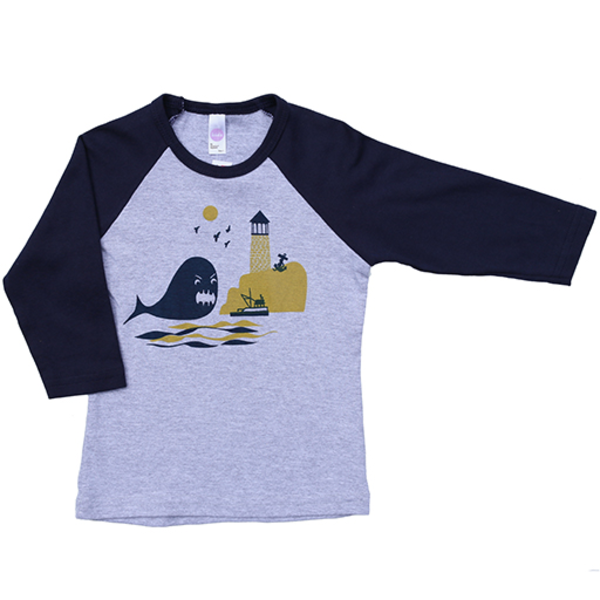 Pinecone and Chickadee Pinecone + Chickadee Kids Whale Baseball Jersey