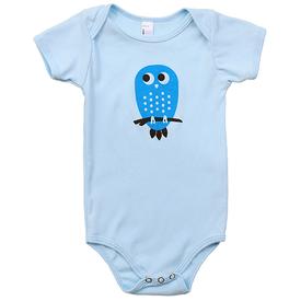 Pinecone and Chickadee Pinecone + Chickadee Blue Owl Baby Onesie