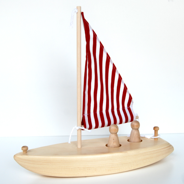 Maine Toys Wooden Sailboat - Red & White Stripe Sail