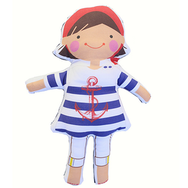 Sophie & Lili Sophie & Lili Kennebunkport Custom Doll Handkerchief Brunette - Anchor Dress