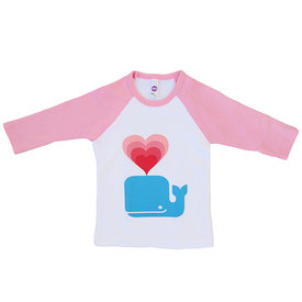 Andy West Design Whale Love Kids Baseball T-shirt - 3/4 inch Sleeves