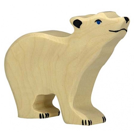 Holztiger Holztiger Wooden Polar Bear - Small Head Raised
