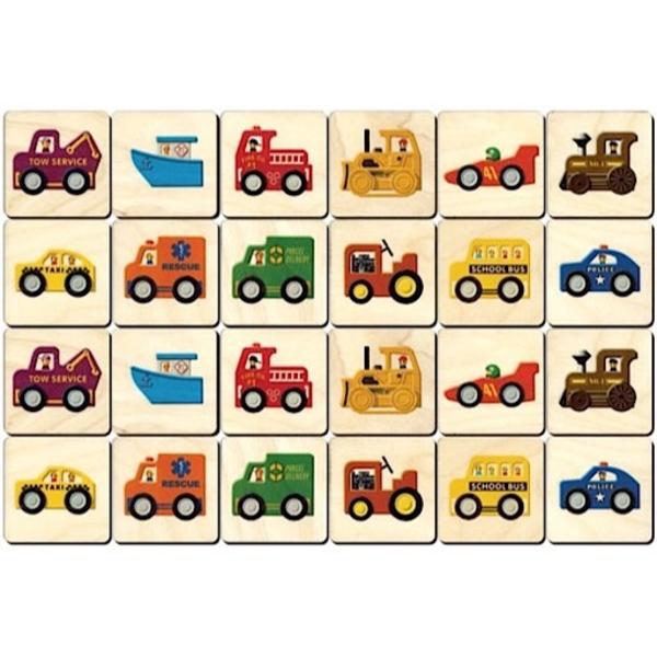 Maple Landmark Memory Tiles - Vehicles