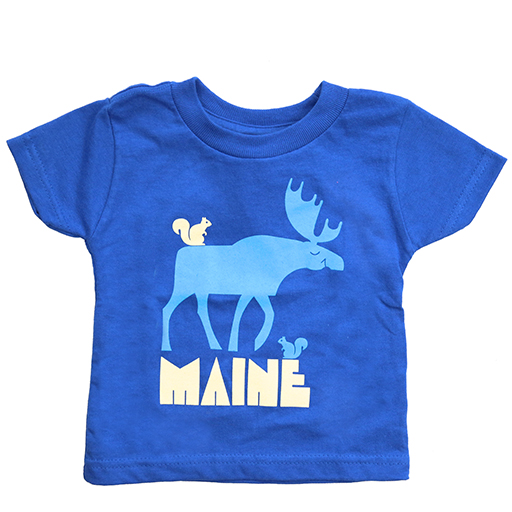 Woods & Sea Woods & Sea - Friendly Moose Tee Mill Dyed - Royal