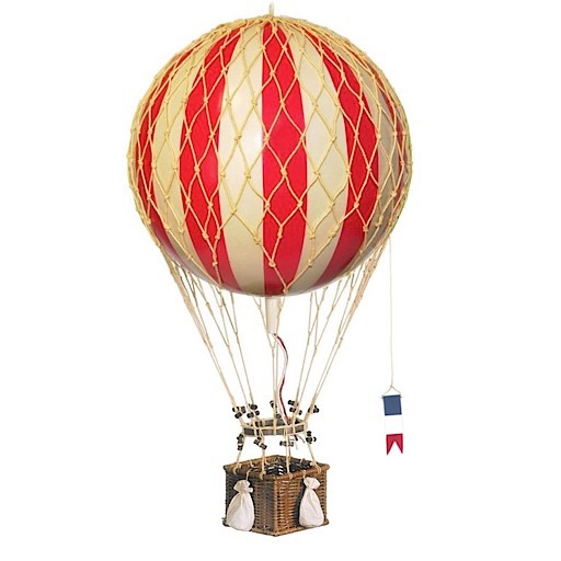 Authentic Models Hot Air Balloon Travels Light - Red - 18 cm