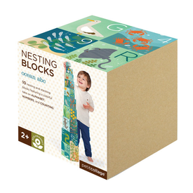 Petit Collage Petit Collage Nesting Blocks - Ocean ABC