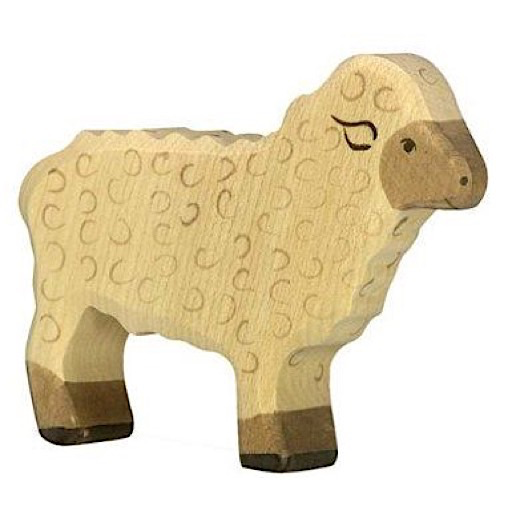 Holztiger Wooden Sheep - White Sheep Standing