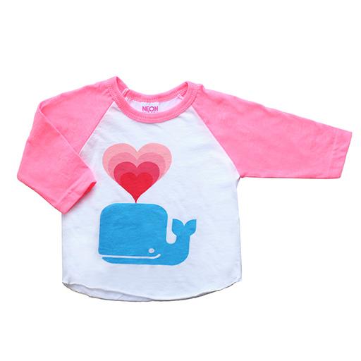 Whale Love Baby Baseball T-shirt - 3/4 inch Sleeves