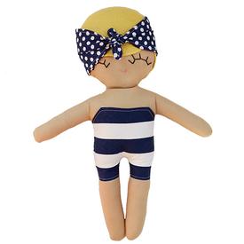 Riley Construction Toys Riley Construction Toys - Swimming Sarah Beach Beauty Cloth Rag Doll - Yellow Hair/Navy Stripe