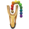 Little Lark Wooden Slingshot - Gold Handle with Gold Rainbow Felt Balls