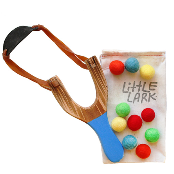 Little Lark Little Lark Wooden Slingshot - Cobalt Handle with Silver Rainbow Felt Balls