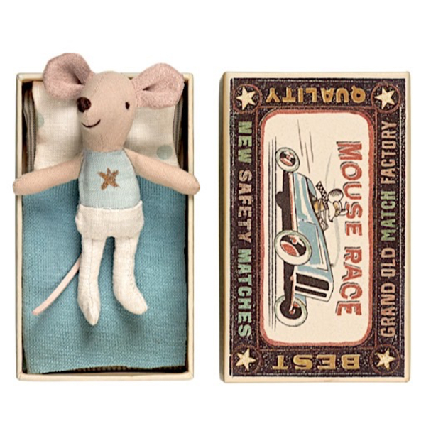 Maileg Maileg Mouse - Little Brother in Box - Gold Star Shirt