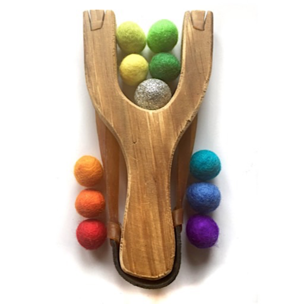 Little Lark Little Lark Wooden Slingshot - Unpainted Handle with Rainbow Gold Felt Balls